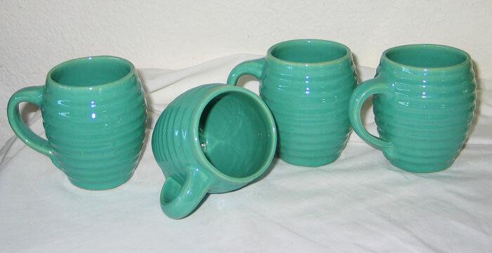 Original Set 4 Bauer Ringware Ring Barrel Mugs Jade Green Glaze - Rare / HTF