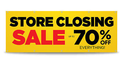 Store Closing Sale Banner Sign Print Business Outdoor - Free Custom Text