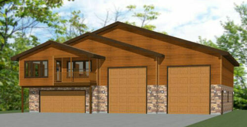 60x50 Apartment with 2-Car 2-RV Garage - PDF FloorPlan - 1,694 sqft - Model 1