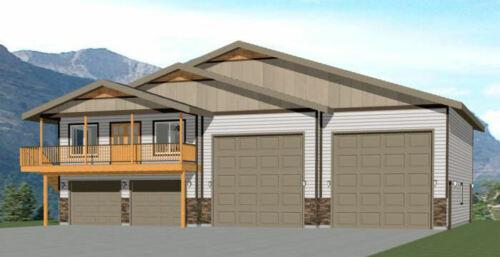 60x50 Apartment with 2-Car 2-RV Garage - PDF FloorPlan - 1,637 sqft - Model 2F