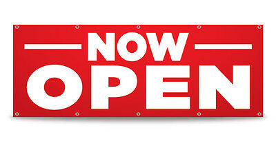 Now Open Banner Sign Grand Opening Business Vinyl - Free Custom Text