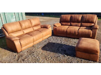 2 X 3 Seater Sofas And Footstool.