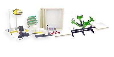 Silk Screen Printing Press 4 Color 2 Station Heat Gun Exposure Unit Equipment