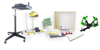 Screenprinting Press 4 Color 1station 16 Flash Dryer Exposure Equipment Kit Four