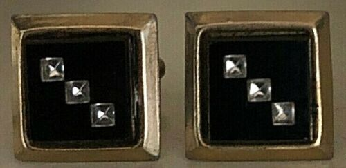 JOHNNY CASH ORIG. PERSONALLY WORN & USED HANDSOME GOLDTONE W/STONES CUFF LINKS!!