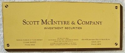 Scott McIntyre Investment Securities, Cedar Rapids,Iowa City,Iowa IA Ink Blotter
