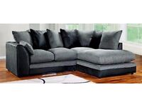 Brand New Jumbo Cord Corner Sofa, Settee, Full Chenille Cord Fabric in Grey (Grey Left / Right )