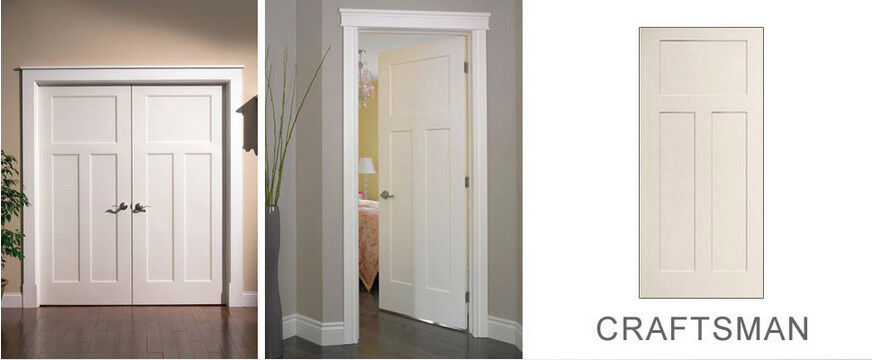 Craftsman 3 Panel Primed Smooth Molded Solid Core Wood Composite