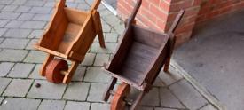 Handmade wooden garden wheelbarrows, wells, planters and bird tables