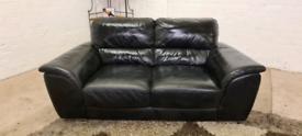 DFS - Black 2 Seater Italian Leather Sofa