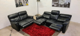 DFS - Black 3&2 Italian Leather Recliner Sofa Set- Only £299!!