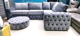 Grey plush velvet Chesterfield with cushions Corner & stool free loca