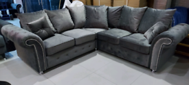 Grey Velvet Corner sofa New free local delivery