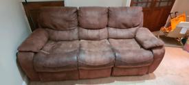 2x Three seater recliner sofas