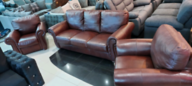 Brown real Italian leather 3+1+1 Seater Suite local delivery