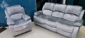 Silver Crushed Velvet 3 seater with Armchair free local delivery