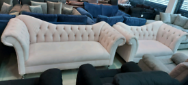 Pink Elegance Chesterfield 3&2 seater sofa set New free local delivery