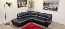 DFS - Black Italian Leather L-Shape Corner Sofa