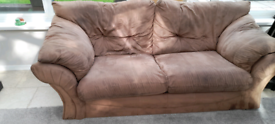Brown 3 seater sofa settee couch