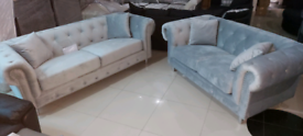 Grey plush velvet 3&2 Seater sofa set New free local delivery