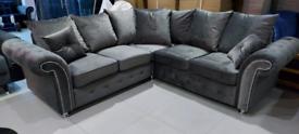 Grey Velvet Corner Sofa New free local delivery