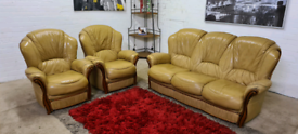 3 Piece Real Leather Sofa Set