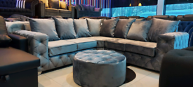 Dark grey velvet Corner Sofa with stool New free local delivery