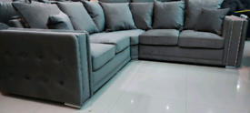 Grey Velvet Quality 5 Seater Corner Sofa New free local delivery