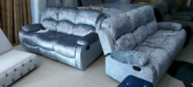 Silver Crushed Velvet 3 seater plus 3 seater Recliner sofa set New
