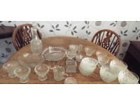 COLLECTION OF OVER 40 PIECES OF GLASSWARE SERVING BIWKS DISHES GLASSES DECANTERS