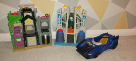 Imaginext Toys Joker's castle and Superman Cave Batman's car
