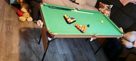 Kids pool table folds flat