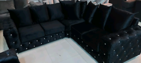 Black Diamonte Chesterfield plush velvet Corner sofa