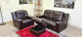 DFS - Italian Leather 2 Seater & Armchair + Storage Foot Stool