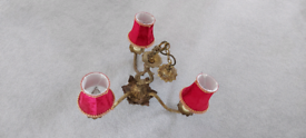 Antique brass 3-light pendant chandelier (2 available)