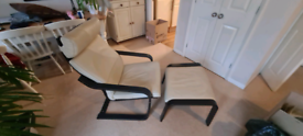 Ikea leather poang armchair and stool