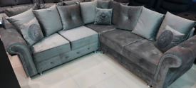 Grey Velvet Corner Sofa Top quality New condition free local delivery