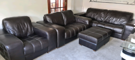 Sofas 4 pieces genuine leather suit