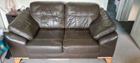FREE TO COLLECT 2x brown leather 2-seater large comfy sofas