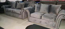 Grey Plush Velvet diamonte 3&2 seater Sofa Set free local delivery