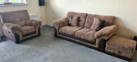 3 seater sofa, single recliner, foot stool