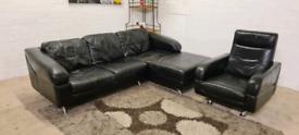 Black Leather L-Shape Corner Sofa With Armchair- Full Set