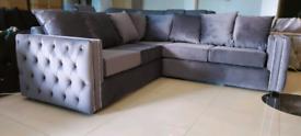 Grey Diamante Top quality Velvet 5 Seater Corner sofa New free local d