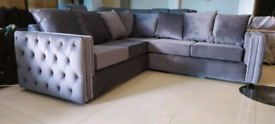 Grey plush velvet corner Sofa New free local delivery
