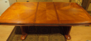 Wood Dining Table with Extendable Leaf
