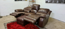 Italian Leather 3 Seater Manual Recliner Sofa & Storage Foot Stool