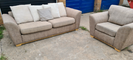 Brown 3 seater and chair DFS