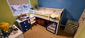 Cabin single bunk bed with desk, stairs and chair £100 ONO