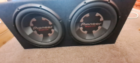 "Twin Pioneer 12"" Dual Coil 1400 Watts Each Subwoofer In Reinforced Sea"