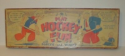 """RARE vtg 1935 """"PLAY HOCKEY FUN WITH POPEYE AND WIMPY"""" Game Barnum Mfg. Co."""